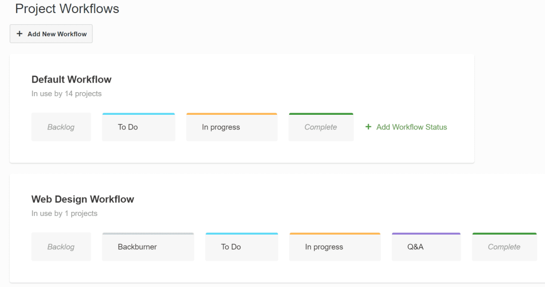 Project management tool Paymo - workflows