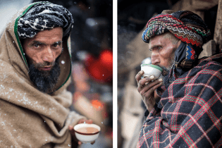 Gujjars drinking chai at a wedding.