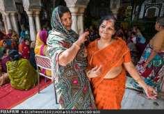 Chakuntala Sharma and Manju Sethi in the Radha Gopinath Temple.