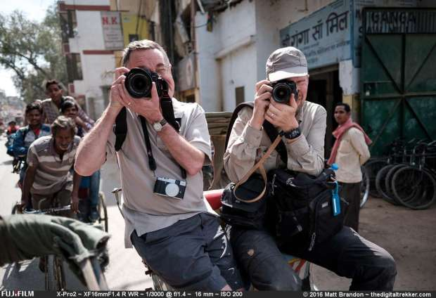 Stident on old collage chum George Neal had never picked up a camera till I got him shooting a Fujifilm X-20. Later he ugraded his camera to a X-T1. Here is George on the left with both camera next to Piet Van den Eynde on a recent trip to India.