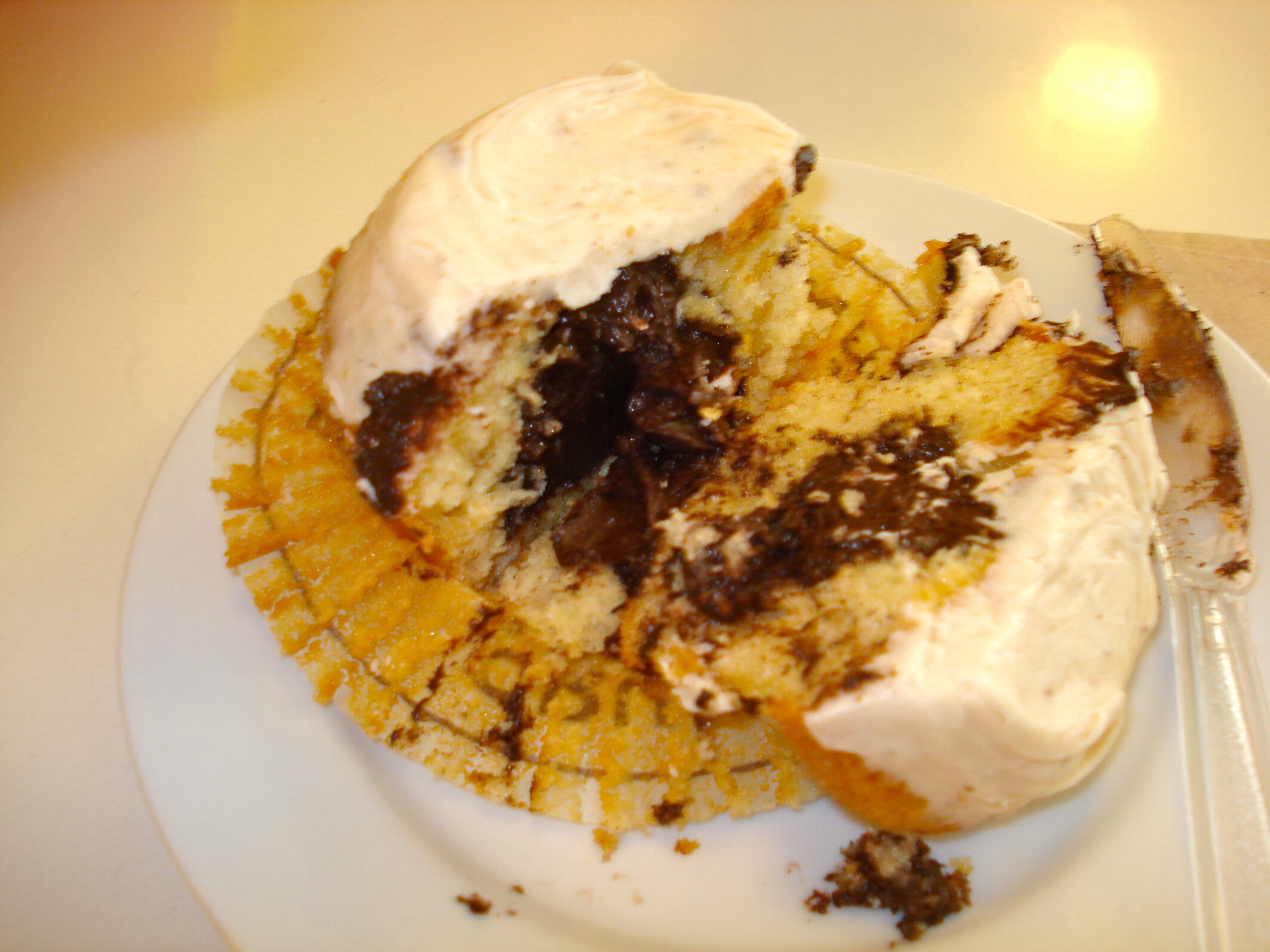 The inside of the cookie-dough cupcake, which had chocolate frosting.  Win.