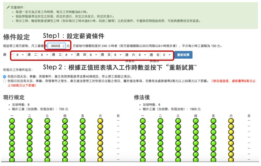 勞工局與 g0v 零時政府合作專案的加班費計算系統 資料來源: http://labweb.mol.gov.tw/