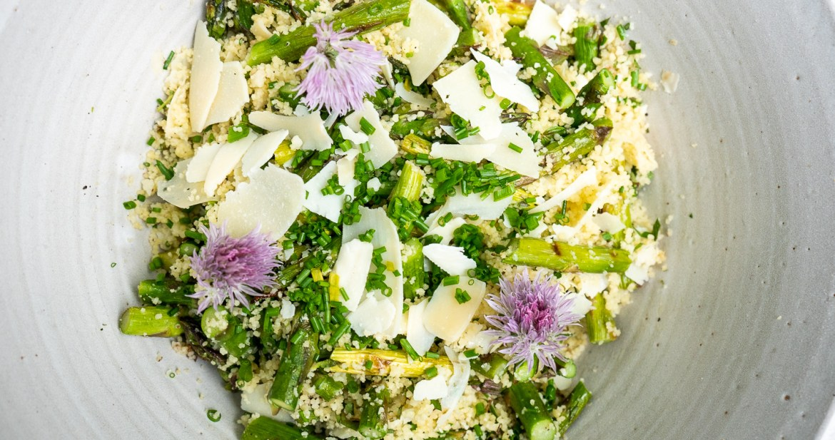 Couscous with Grilled Asparagus and Herbs