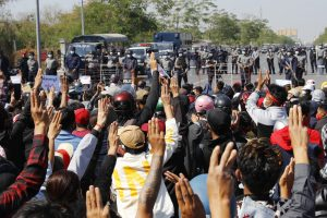 Police in Myanmar Crack Down on Crowds Defying Protest Ban