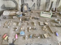 Items covered in ash.