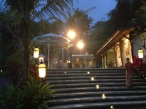 Stairs leading up to the restaurant.