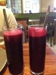 Cold pressed beetroot juice.