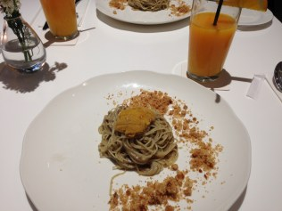 Truffled angel hair with sea urchin and pork crackling.