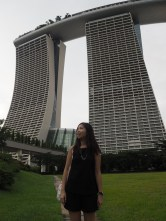 Against the backdrop of Marina Bay Sands.