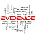 Evidence Word Cloud Concept in red caps