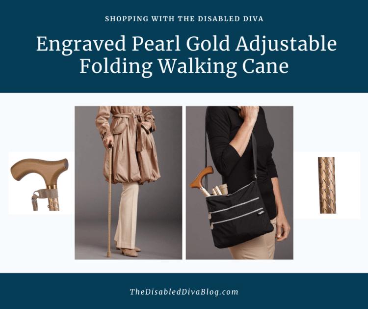 Engraved Pearl Gold Adjustable Folding Walking Cane