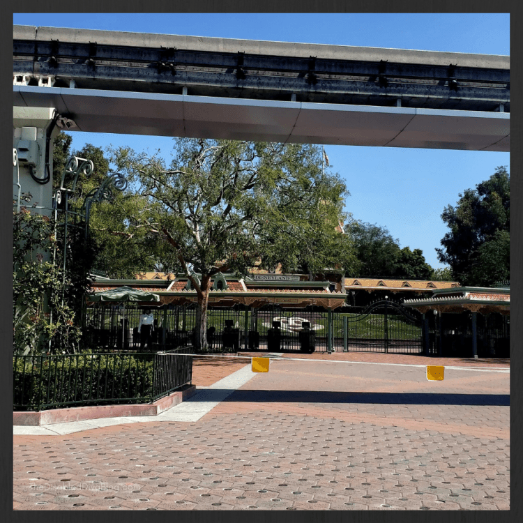 View of Disneyland gates which are blocked from guests