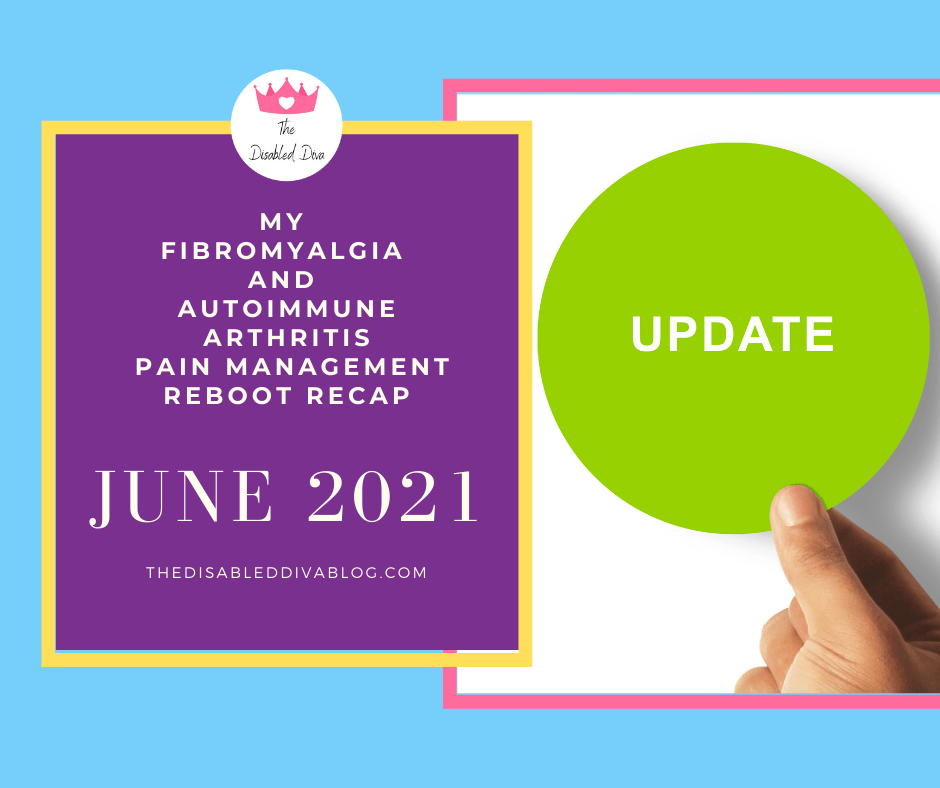 Blue background, purple box with words my fibromyalgia and autoimmune arthritis pain management reboot and a green circle with word update in white