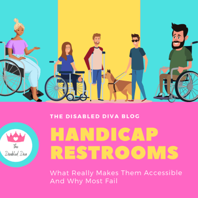 Illustrated image with pink, blue, and yellow bold background with a woman of color in a wheelchair, a white woman in a wheelchair, a man with an amputated leg on crutches, a non specific gendered person with a service dog, and a bearded man in a wheelchair.