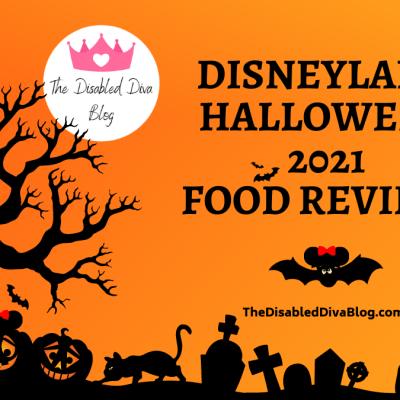 Disneyland Halloween 2021 Food Review. Image: Orange background with black shadow trees, pumpkins, gravestones, cats, bats, and spiders.