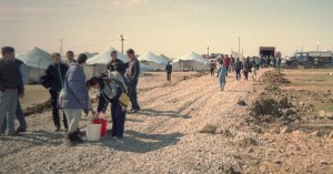 Refugees from Kosovo move into a new camp at Dures Albania