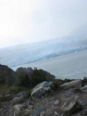 Trekking Torres del Paine - a disappointing view over Glacier Grey