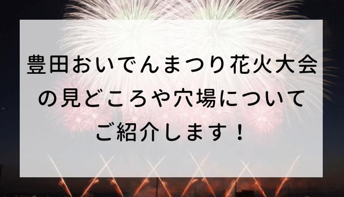 豊田おいでんまつり花火大会2019の見どころや穴場についてご紹介します!