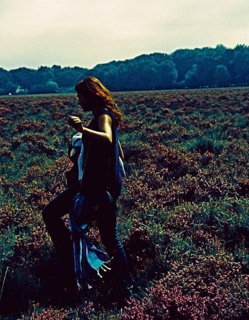 walking across field