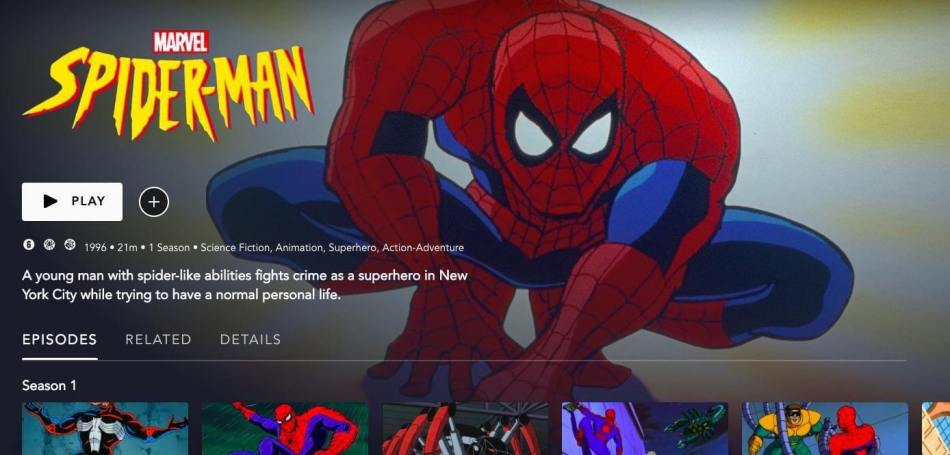 Spider-Man The Animated Series look on Disney+