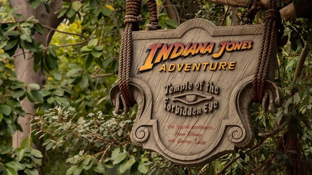 Sign outside of Indiana Jones Adventure in Disneyland's Adventureland