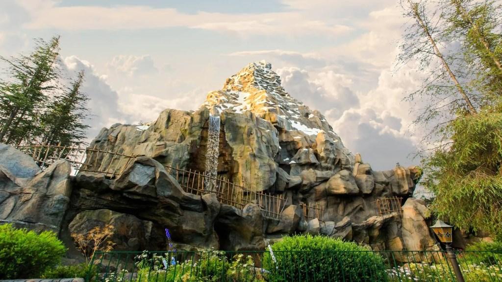 A view of the entire Matterhorn mountain in Disneyland in Anaheim California.