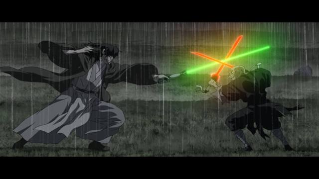 A black and white image of two Jedi in the midst of battle.