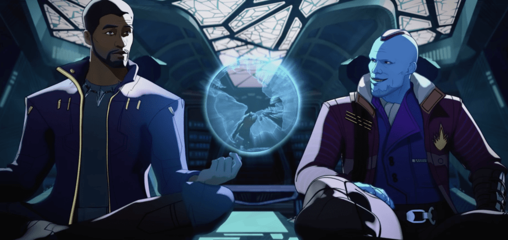T'Challa's version of Star-Lord sits beside his new surrogate father, Yondu in the best episode of What If...?