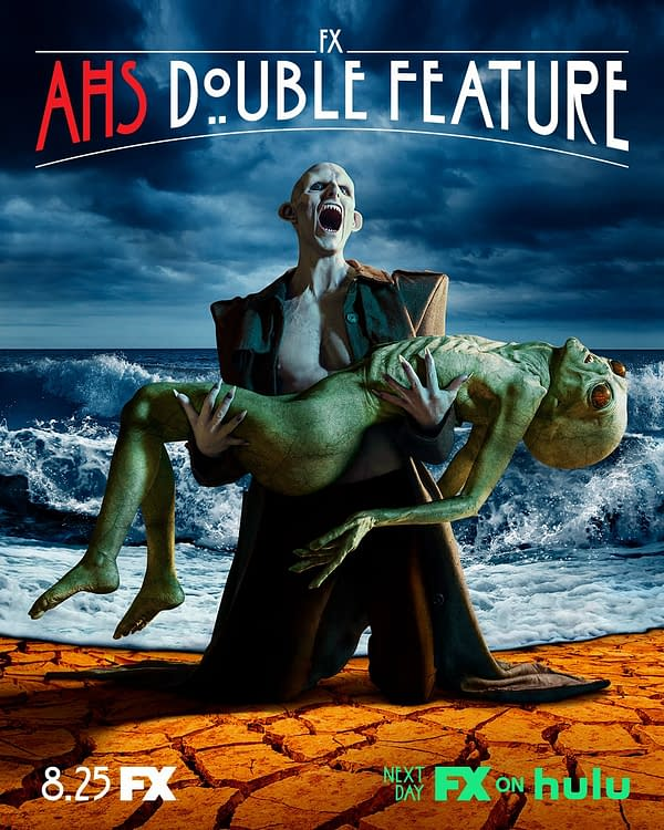 The new poster for American Horror Story: Double Feature, with a siren and an alien.