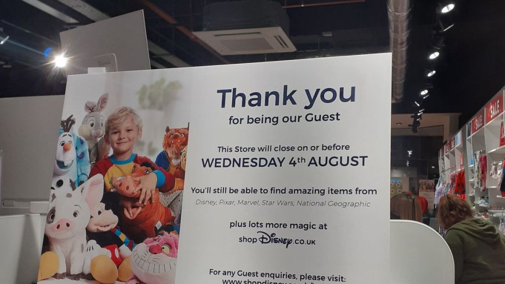 A sign at the Peterborough store in England stating the store will be closing on Wednesday 4th August.
