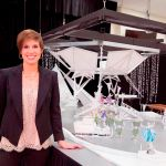 Behind the scenes look at Producer Nicole Feld with the white model concept of the Disney On Ice presents Frozen set that will immerse families in the winter world of Anna and Elsa.
