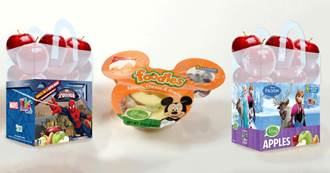 Disney's Frozen and Marvel's Spider-Man-branded bagged apples