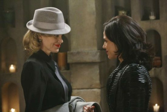 Maleficent visits Regina's vault.  I don't like Maleficent as a blonde, is that weird?  All photos via ABC Television.