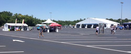 Tents welcoming the Expedition Everest Challenge participants on the Animal Kingdom parking lot.