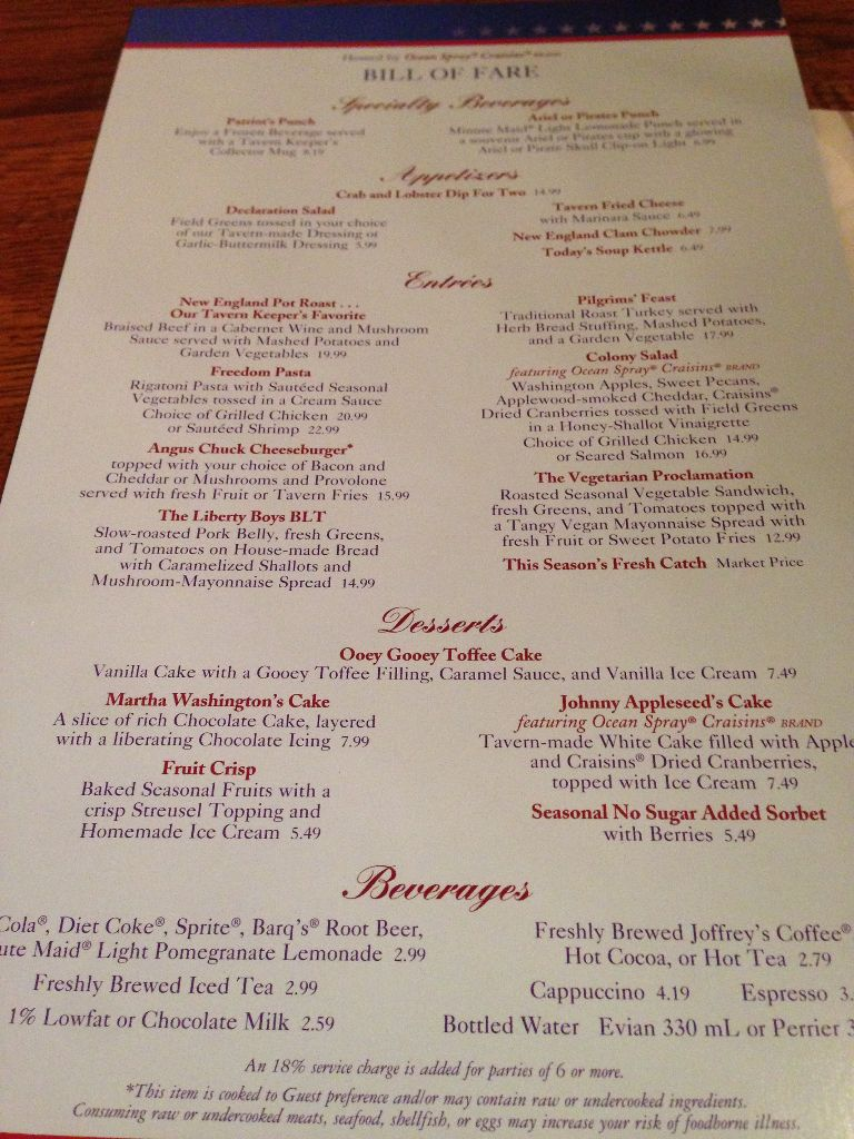 Liberty Tree Tavern menu