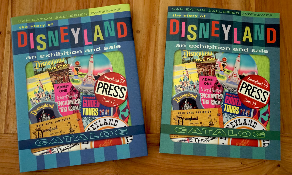 """""""The Story of Disneyland Exhibition and Sale Catalog"""" by Van Eaton Galleries is available in hard (left) or soft (right) cover."""