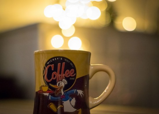 a little Christmas light bokeh and a swell cup of coffee with your favorite Disney mug