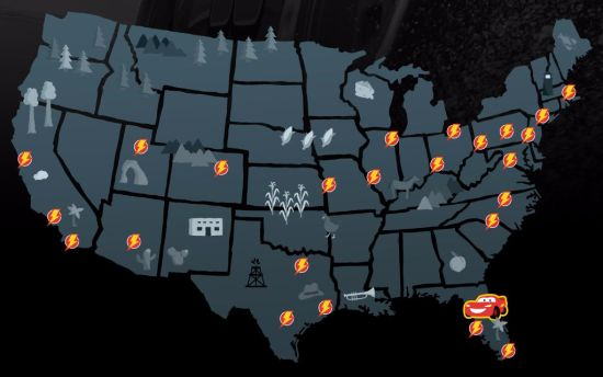 Cars 3 Road to the Races Tour Map