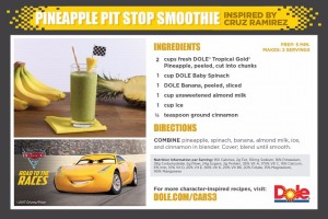 Pineapple Pit Stop Smoothie - Recipe Card
