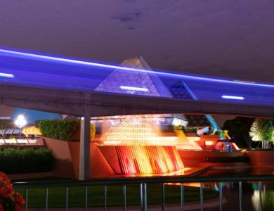 EPCOT monorail and Imagination Pavilion