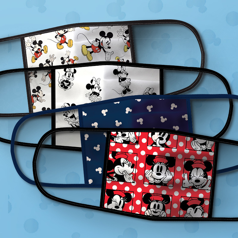 Mickey and Minnie Mouse Cloth Face Masks 4-Pack Set