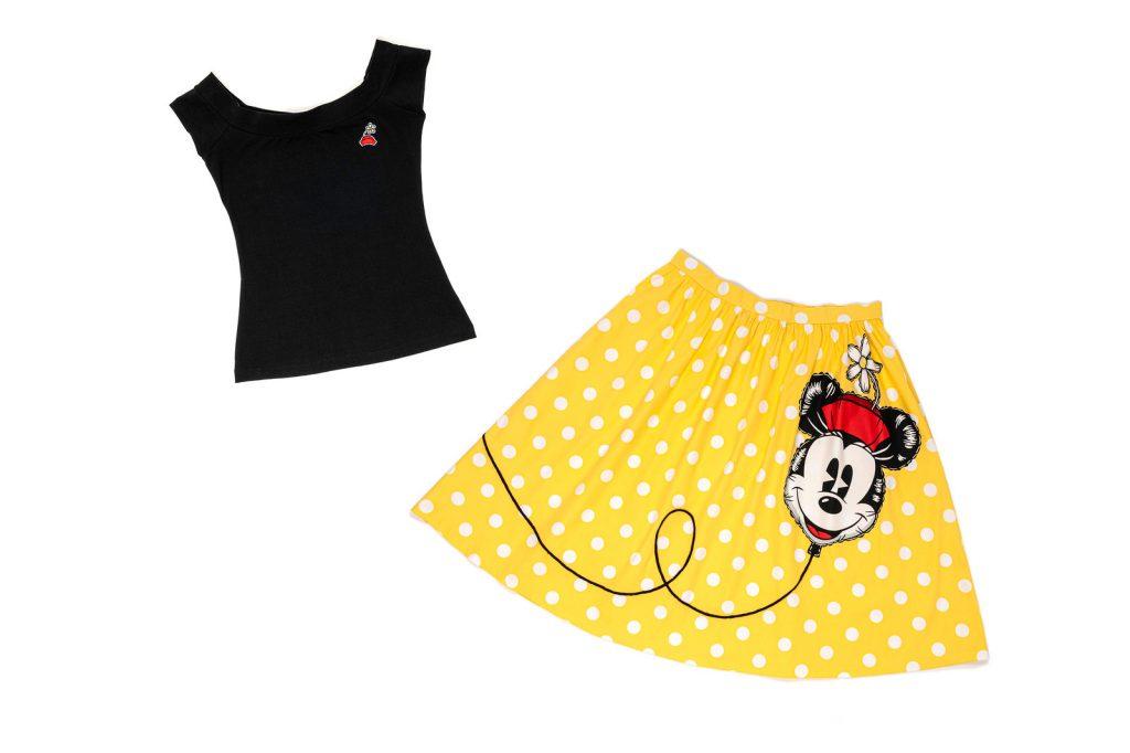 Minnie Hat Dizzy Off Shoulder Top and Yellow Dot Minnie Balloon Sandy Skirt