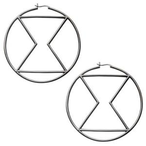 marvelxrocklove black widow hoop earrings