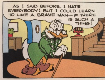 Scrooge's first appearance in Four Color #178 (1947) drawn by Carl Barks.