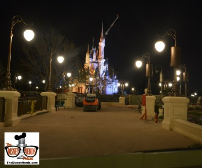 Magic Kingdom Hub Expansion about to open.. the view facing castle left of caseys