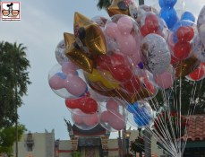 Balloons on Hollywood Blvd in front of the Chinese theater.