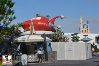"Construction walls up in Tomorrowland next to ""Thirst Rangers"""