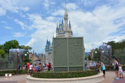 The Partner Status was under cover again, but notice the two blue tarps with trees... those are the new turrets extending the castle into the hub.