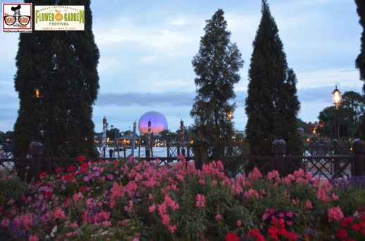 View of Spaceship Earth from Italy - Epcot International Flower and Garden Festival 2015