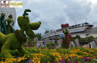 Monorail passes Daisy Topiary - Epcot International Flower and Garden Festival 2015